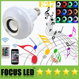 Wholesale Control Light Iphone - LED RGB Color Bulbs Speaker Lights Lamps 16 colors E27 Wireless Bluetooth Remote Control Smart Speaker Music Audio Speaker Suit for iphone