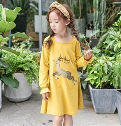Wholesale Deer Dresses - Big Girls Cotton Deer Print Dresses 2017 Fall Kids Boutique Clothing Korean 4-12 Year Girls Casual Long Sleeves T-Shirt Dresses