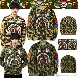 Wholesale Winter Women Jackets Xxl - 2017 Off White Street tide brand autumn winter sport sweater camouflage jacket sharks baseball Hoodies lovers of men and women