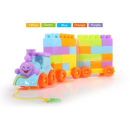 Wholesale Large Toy Bricks - Large Size Baby Choochoo Train Blocks Building Brick Preschool Educational Toys Assembling Granule Plastic 6M+ Little Toy YLHTOYS