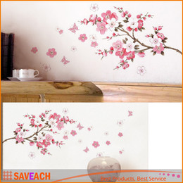 Wholesale Transparent Flower Wall Art - Sakura Flower Bedroom Room PVC Decal Art DIY Home Decor Wall Sticker Removable Stickers Transparent Poster Wallpaper