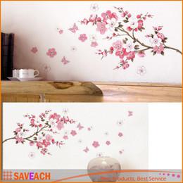 Wholesale Sakura Flower Decal - Sakura Flower Bedroom Room PVC Decal Art DIY Home Decor Wall Sticker Removable Stickers Transparent Poster Wallpaper