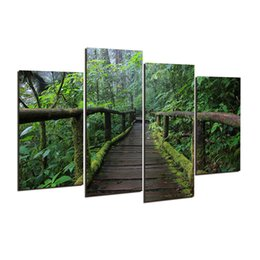 Wholesale Modern Original Paintings - 4 Pcs (No Frame) original forest wooden bridge Picture Modern Home Decoration Living Room or Bedroom Canvas Wall picture h 165