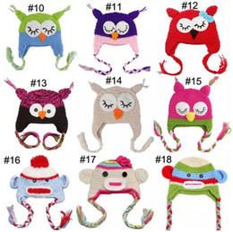 Wholesale cute knitted hats - New Cute National Style Cartoon Multicolor Toddler Handmade Knitted Crochet Kids owl hat with ear flap Animal Cap