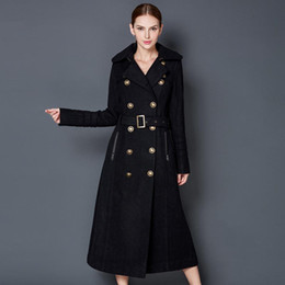 Wholesale Womens Wool Military Coats - Womens Extra long Black wool blend double breasted Military trench coat jacket L wool coatW  Metallic Buttons