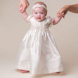 Wholesale Baby Christening Boys - 2016 White Ivory Ankle-length Fashion Baby Birthday Dress Vestido de festa longo Baby Girl Christening Gowns baby Boy Dress Custom Made