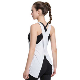 Wholesale Cross Singlets - Wholesale-Woman Sport Yoga Shirts Tops Loose Blusa Women Fitness Cross Back T shirt Tanks Gym Vest Sleeveless Singlet for Running Training