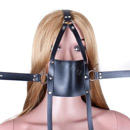 Wholesale Sex Mask Gag Ball - PU Leather Open Mouth Gag Head Harness Bondage Restraints Sexy Mask With Ball Gaged Adult Sex Toys For Couple Sex Products