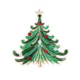 Wholesale Crystal Christmas Tree Brooch - Christmas Brooch New Style Lady's Lovely Brooches Fashion Jewelry Christmas Trees Brooch Clothes Decor Christmas Gifts