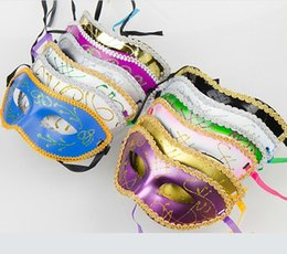 Wholesale Masquerade New Years Masks - New masquerade costume party new year christmas halloween dance women sexy mix face mask venetian masks