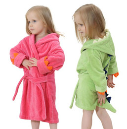 Wholesale Bath Robe Cloak - 100% Cotton Baby Bathrobe Hooded Cartoon Blankets Infant Bath Towels Cloak Soft And Comfortable For 0-6 Years (Green Pink)
