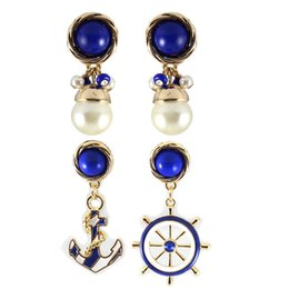 Wholesale Epoxy Studs - Fashion 2 Styles Blue Stud Earrings,Wholesale Women's Epoxy Earrings With Pearl Anchor Steering Wheel Jewelry Accessories KL709