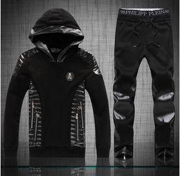 Wholesale Male Pants Casual Sports - Wholesale-2016 New fashion Men's casual tracksuit sports suits male Metal Skull PU patchwork hood hoodies sweatshirts+Pants M-XXL Black