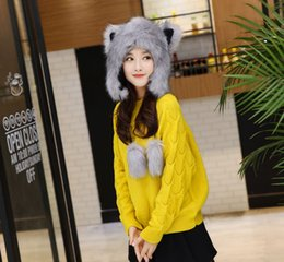 Wholesale Free Modeling - Faux Fur Hats Women Fox Modeling Hat Woman Hat Cotton Beanie Caps Winter Lace up Ski Knitted Cap White Gray