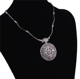 Wholesale Sweater Chain Necklaces Cheap - 2016 Fachion Cheap Pewter Round Flowers Hollow Pendant Metal beads Chian Sweater Necklace Vintage Alloy Western Popular accessory For Women