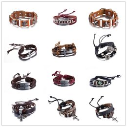 Wholesale Cheap Vintage Bracelets - Mixed leather bracelet Cross Men's Vintage jewelry charm bangles top quality cheap wholesale Christmas gift free shipping