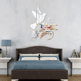 Wholesale blue tree wall decals - Three-Dimensional High Quality DIY Modern Bird Tree Flowers Acrylic Mirror Wall Stickers Home Decor Decal Art Modern Design 2PCS LOT