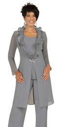 2019 pantalon mère mariée costumes 16 Costumes de costume gris avec la veste longue à la mode de la mère de la mariée gris argenté Unique promotion pantalon mère mariée costumes 16