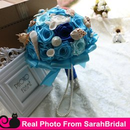 Wholesale Ocean Shell Pearls - 2016 Beach Ocean Bouquets Bridal Brides Bridesmaid Holding Flowers Royal Blue and Sea Sky Blue Shells Pearls marriage for Bohemian Wedding