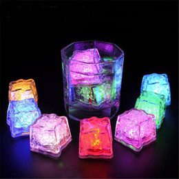 Wholesale Red Ice Cubes - LED Ice Cube Fast Flash Slow Flash Mini Romantic Luminous Cube LED Artificial Ice light for Wedding Christmas party Decoration