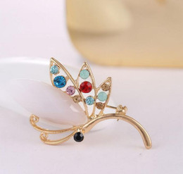 Wholesale Wedding Bouquet Bling - Unique Jewelry Women's Brooch Bling Clear Rhinestone Crystal Opal Bouquet Brooches and Pins Wedding Bridal X00094