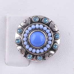 Wholesale Free Rhinestone Patterns - New Arrival Noosa 18 MM Snap Button Charms Rhinestone Pattern Fit Snap Bracelets Necklace Ring Earring Ginger Snaps Button Free Shippping