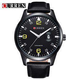2019 calendário de negócios grátis CURREN 8116 pele watchband fallow estilo conciso Relógios de Quartzo dos homens negócios calendário relógios de Pulso atacado Frete Grátis calendário de negócios grátis barato