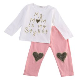 Wholesale 2t Girls Fall Clothes - 2PCS Fall Toddler Kids Baby Girls Sweet Heart print Outfits Clothes Letter Long Sleeve T-shirt Tops + Long Pants Trousers 1-5Y