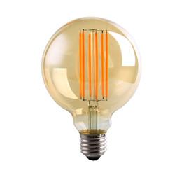 Wholesale Antique Golden - Vintage LED Long Filament Bulb,G95 6W,Golden Tint,Ultra Warm White,Antique Decorative Household Lamp,Dimmable