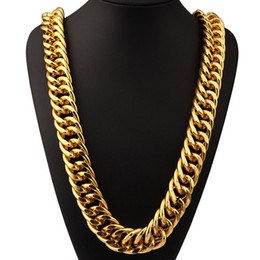 Wholesale Aluminum Chain Necklace - Aluminum 18K Gold Plated Extra-coarse Long Chains Exaggerated Necklace Hip Hop Jewelry Hip-hop Singer Street Dance Hipster Men Women Joyas