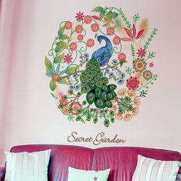 Wholesale Diy Hoops - Floral Hoop Peacock Wall Decal Home Decor Flowers Peacock Wall Mural Poster Secret Garden Living Room Study Wall Paper Art DIY Home Decor