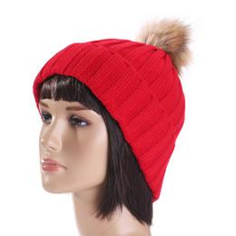 Wholesale Types Beanies Hats - Winter Hat for WomenFur Pom Poms Hat Female Warm Wool Women's Cap Twist-type Knitted Girl Winter Hats 2017 skullies Beanies