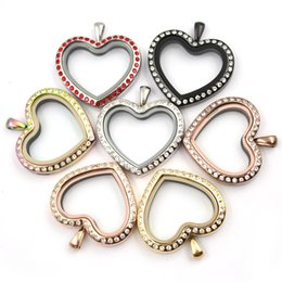 Wholesale Matches Charm - Peach Heart Magnetic Closure Silver 316L Stainless Steel Floating Charm Locket with Czech Crystals (free matching plate)