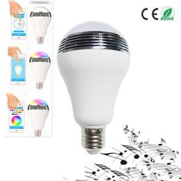 Wholesale rgb wifi bulb - Intelligent AC90V-240V 10W Audio Speakers Lamp Dimmable Speaker E27 LED RGB Light Music Bulb color via WiFi App Control