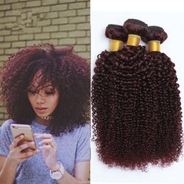 Wholesale Curly Burgundy Hair Extensions - Grade 8A Burgundy Brazilian Curly Human Hair Weave 3 Bundles Lot Wine Red 99J Kinky Curly Hair Extensions Double Wefts 10-30'' Stock