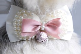 Wholesale Pearl Bow Tie Necklace - 2016 Hot lace pearl necklace bowknot Pet neck ties flower dog cat collar products free shipping