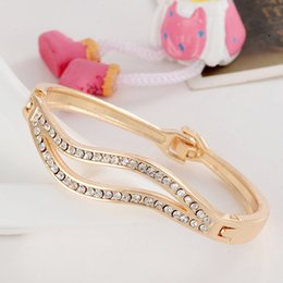 Wholesale Yellow Austrian Bracelet - Wholesale-New Fashion Women Lady's 18k Yellow Gold Plated Clear Austrian Crystal Bracelets & Bangles Jewelry Gifts