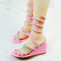 Wholesale Dance Shoes Wedge Heels - Beautiful Women Sandals 2016 Crystal Wedge Heels Summer Dress Shoes Gladiator Wedding Bridal Shoes Birthday Party Dancing Shoes