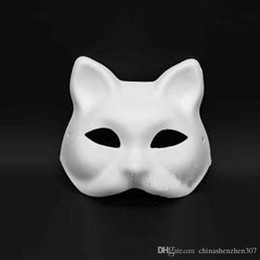 Wholesale Venetian Mask White - Unpainted Blank White Sexy Women Party Masks Masquerade Mask Venetian Cat Cosplay Costume DIY Mask High Quality