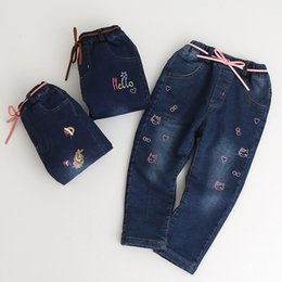 Wholesale Elastic Belt Flowers - Everweekend Kids Girls Long Length Pants Embroidery Cats Giraffe Flowers Baby Girls Jeans Casual Belt Denim Trousers