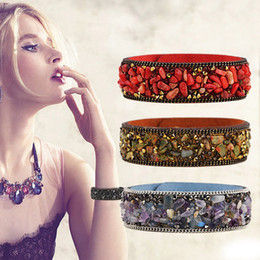 Wholesale Natural Flowers Bracelets - High Quality Gravel Bracelet Natural Crystal Bangle Multicolor Stone Leather Bracelet Paris Fashion Model Show Jewelry