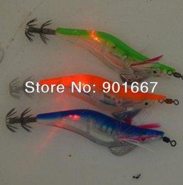 Wholesale Lead Squid Jig - 2013 - fishing lures LED squid jig fishing tackle flash fishing bait 3.0# 12cm With retail box 8pcs Free Shipping