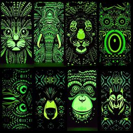 Wholesale Iphone 5s Cases Glowing - Animals Lion Wolf Owl Pattern Hard Back Phone Case For iPhone se 5s 6 s 7 Plus Glow In Dark Luminous Forest King