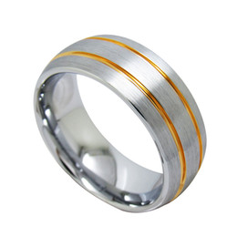 Wholesale Two Toned Tungsten Wedding Bands - 8mm Two Tone Tungsten Wedding Bands High Polish Brush top with two yellow gold grooves 375