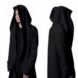 Vêtements d'extérieur hip hop taille plus en Ligne-2016 Automne Mode Noir Manteau Plus la taille 5XL À Capuchon Mâle Streetwear Hip Hop Long Hoodies Vêtements Hommes Survêtement