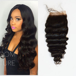 Wholesale Malaysain Hair - Deep Wave Lace Closure Malaysain Hair 3.5x4 middle part lace closure bleached knots Human Hair Closure With Baby Hair