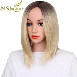 """Wholesale Blonde Grey Wig - wigs for women AISI BEAUTY Short Wigs for Women 12"""" Synthetic Straight Ombre Blonde Purple Grey Hair"""
