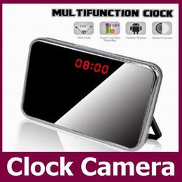Wholesale Digital 5mp - 5MP HD 1080P Mini Clock Camera Motion Detection Mirror Alarm Clock Video DVR Digital Recorder Remote control Mini CCTV Camera