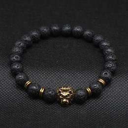 Wholesale Men Lion Head - Wholesale Antique Gold Plated Buddha Leo Lion Head Bracelet Black Lava Stone Beaded Bracelets For Men Women