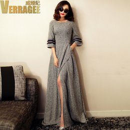 Wholesale Bell End - Spring 2016 new Europe and the United States high-end women's 3 4 sleeve long dress dress spread out the fork